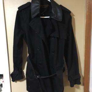 Jean material trench coat